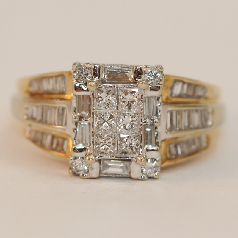 14K Yellow Gold Vintage Inspired Diamond Cluster Ring Size 8.5