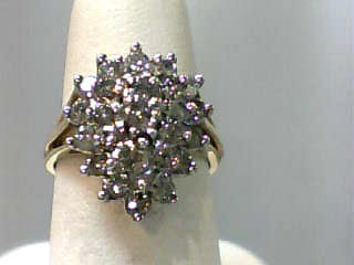 Lady's Diamond Cluster Ring 27 Diamonds 1.08 Carat T.W. 14K Yellow Gold 4dwt