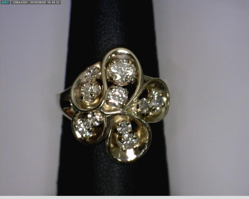 Lady's Diamond Cluster Ring 10 Diamonds .80 Carat T.W. 14K White Gold 4.21dwt