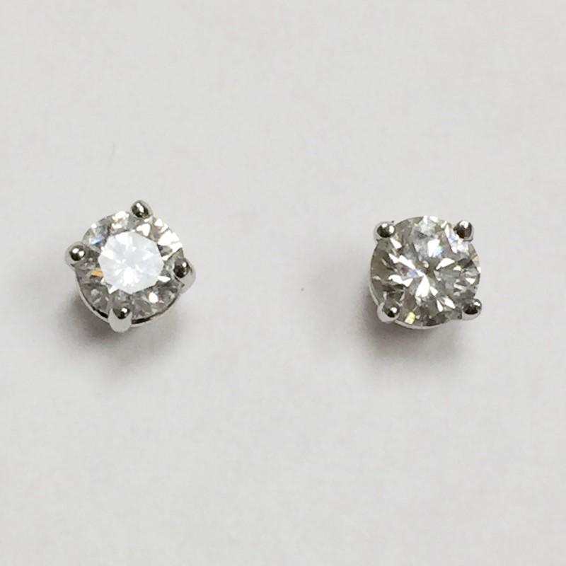 Gold-Diamond Earrings 2 Diamonds .46 Carat T.W. 14K White Gold 0.5dwt