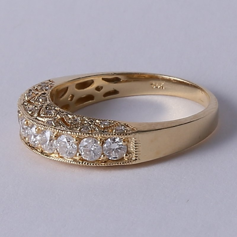 Vintage Inspired 14K Y/G Channel Set Diamond Ring Size 9.3