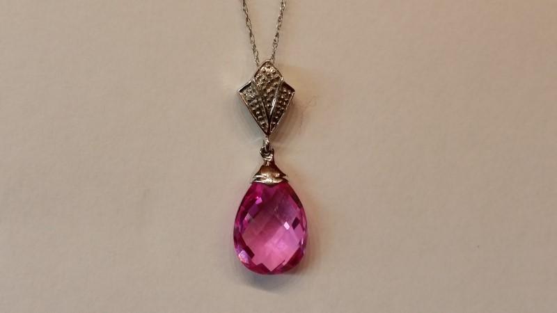 "19"" Pink Stone Diamond & Stone Necklace 2 Diamonds .002 Carat T.W."