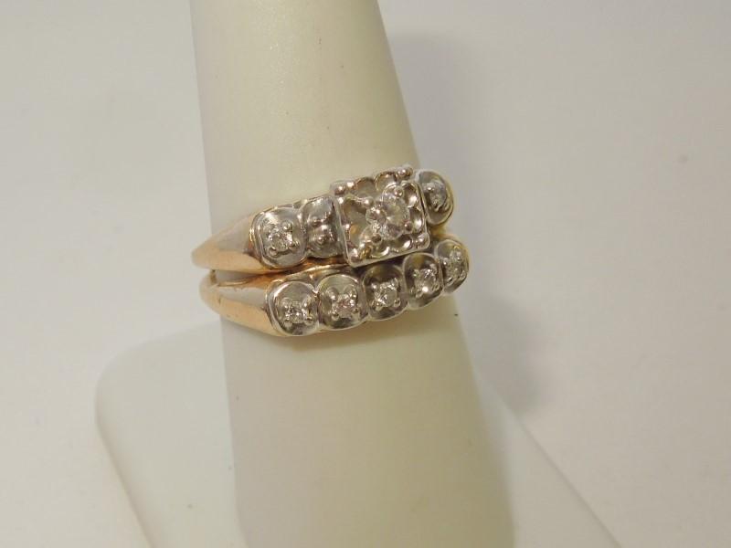 Lady's Diamond Cluster Ring 8 Diamonds .14 Carat T.W. 14K 2 Tone Gold 4.7g