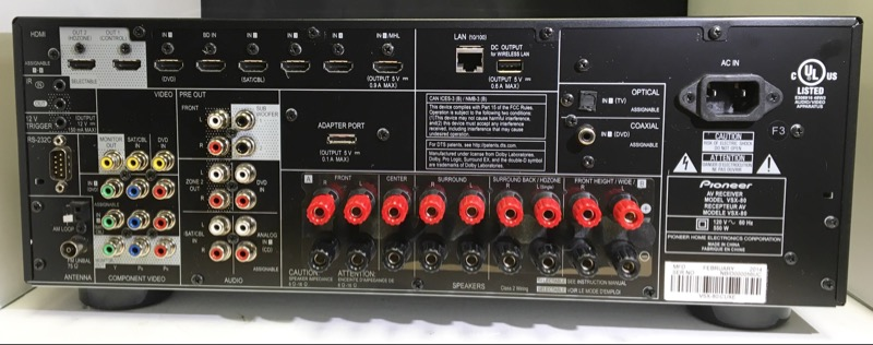 PIONEER MODEL VSX-80 NETWORKED RECEIVER 7.2 90W OUTPUT @ 8 OHMS 7-HDMI INPUTS