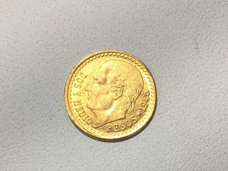 1945 Mexico Dos Y Medio 2.5 Pesos Gold Coin