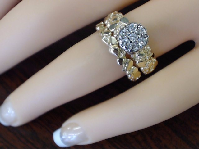 ESTATE DIAMOND CLUSTER NUGGET ENGAGE WED SET RING BAND 14K GOLD SZ 6