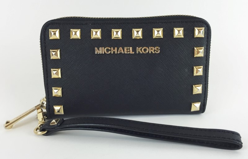 MICHAEL KORS SMALL ZIP AROUND STUDDED WALLET