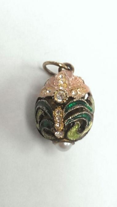 FABERGE INSPIRED EGG GREEN, AND CORAL ENAMEL PERFECT FOR EASTER