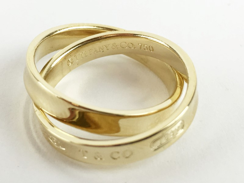 Tiffany & Co. 18K Yellow Gold 7.88g Size:6 Interlocking Bands