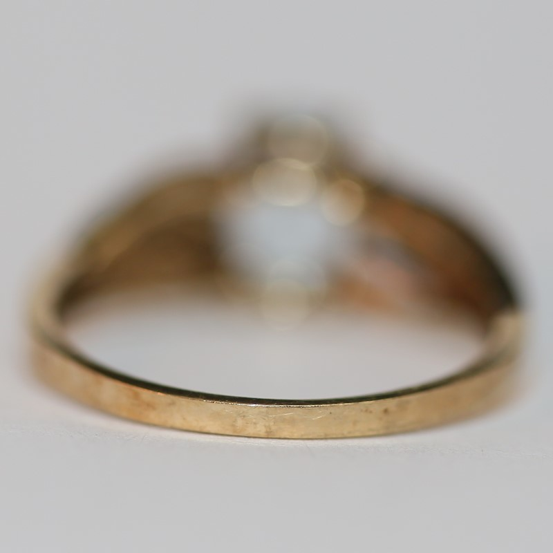 10K Yellow Gold Aquamarine and Diamond Ring 7.75