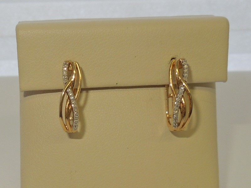 Gold-Diamond Earrings 32 Diamonds .160 Carat T.W. 10K Yellow Gold 2.3g
