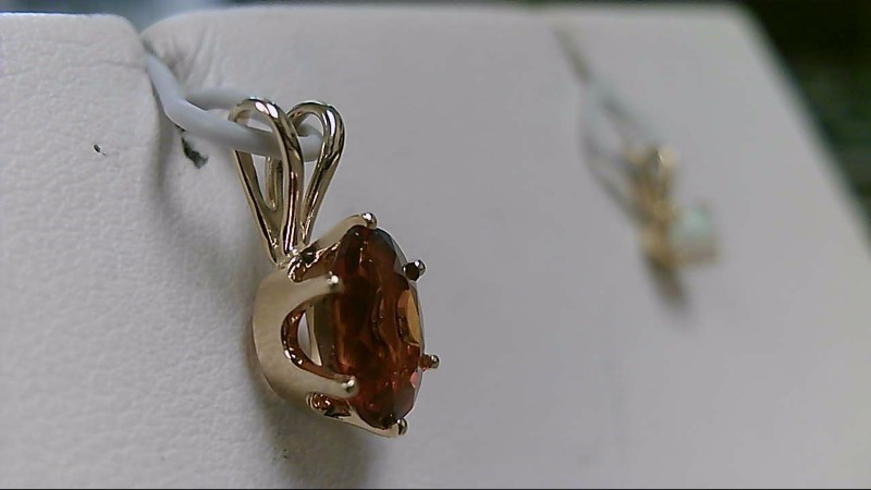 Lady;s 10k yellow gold oval citrine pendant