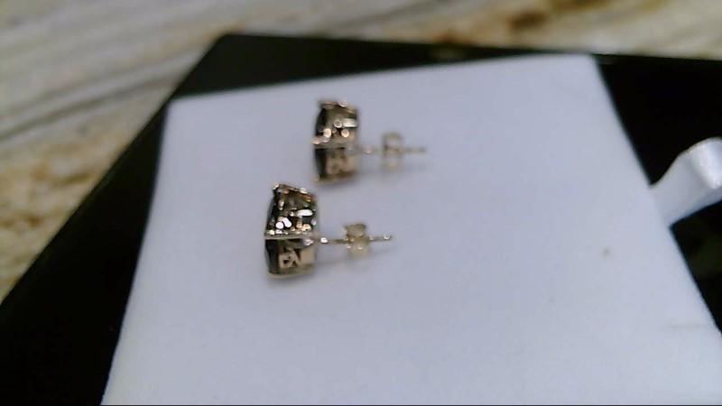 Lady's 10k yellow gold oval garnet earrings