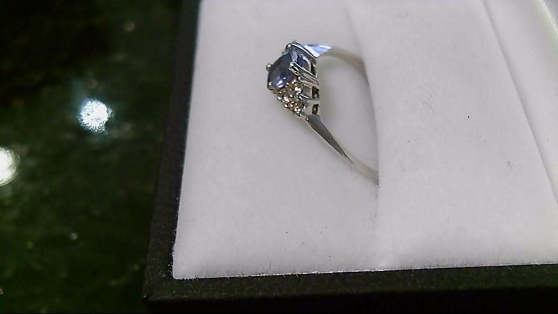 lady's 14k wht gold tanzanite and diamond ring