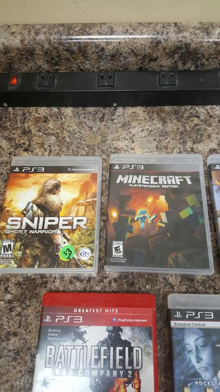 Lot of 5 Sony PS3 Games - Uncharted 3, Minecraft, L.A. Noire, Battlefield