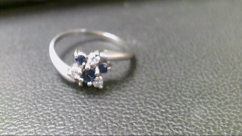 Synthetic Sapphire Lady's Stone & Diamond Ring 3 Diamonds .15 Carat T.W.