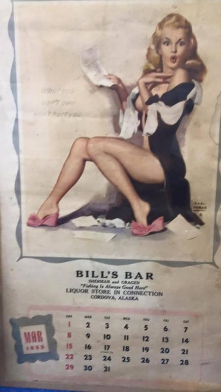 MARCH 1953 CALENDAR GIRL BILL'S BAR