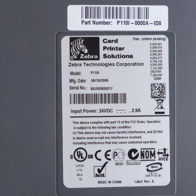 Zebra P110i USB Single-sided Color Thermal ID Card Printer Bundle>