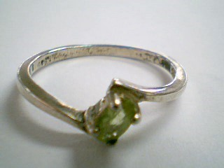 Synthetic Peridot Lady's Silver & Stone Ring 925 Silver 1.8g Size:8