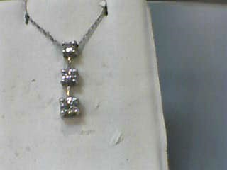 "18"" Diamond Necklace 3 Diamonds .55 Carat T.W. 14K White Gold 1.1dwt"
