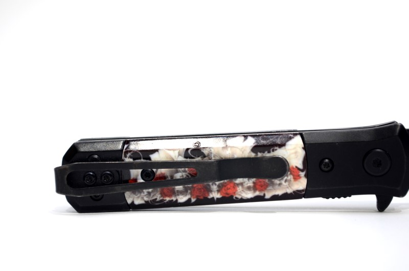 """TAC-FORCE ASSISTED OPEN SKULL AND ROSES KNIFE TF674R 4"""" CLOSED>"""
