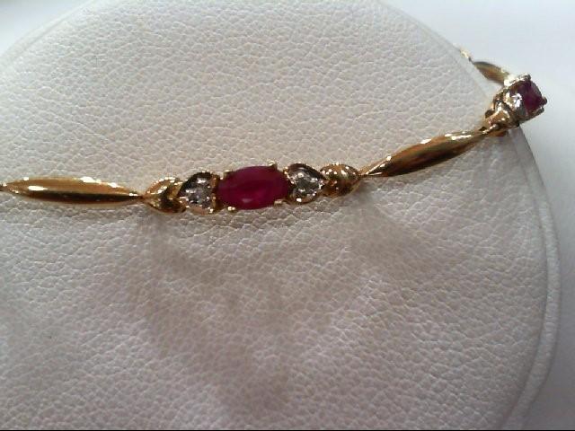 Ruby Gold-Stone Bracelet 10K Yellow Gold 3.5g