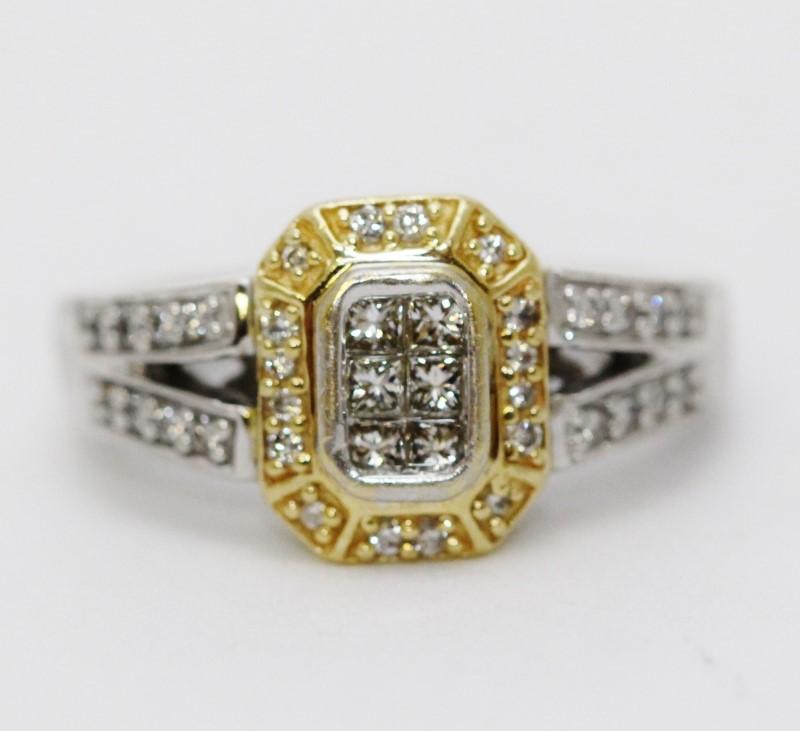 14K Two Tone Gold Split Shank Diamond Octagonal Halo Cluster Ring Size 6.75