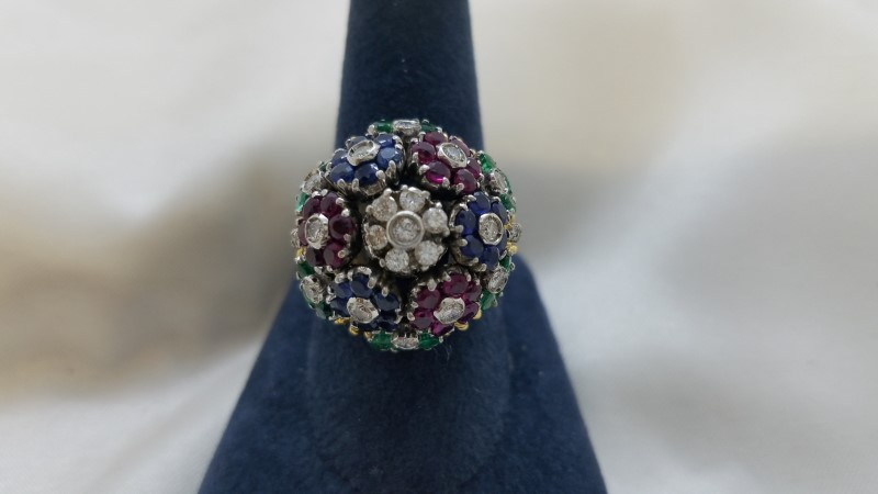 Ruby Lady's Stone & Diamond Ring 27 Diamonds .54 Carat T.W. 18K White Gold