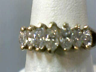 Lady's Gold-Diamond Anniversary Ring 7 Diamonds .98 Carat T.W. 14K Yellow Gold