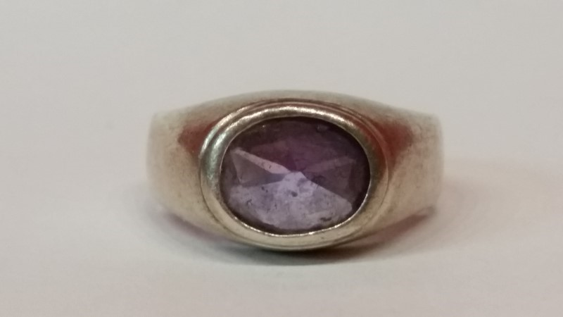 Synthetic Amethyst Lady's Silver & Stone Ring 925 Silver 4.9g Size:6.5