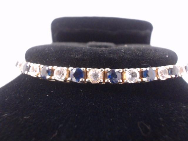 Blue Stone Gold-Diamond & Stone Bracelet 23 Diamonds 3.45 Carat T.W.