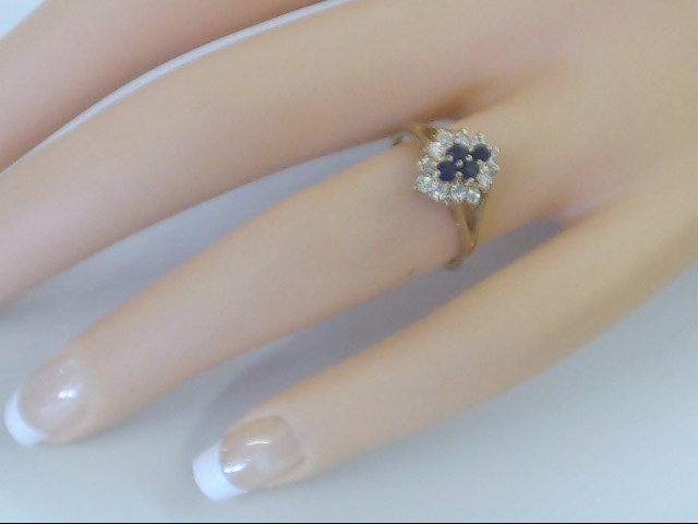 VINTAGE SAPPHIRE DIAMOND CLUSTER RING SOLID REAL 14K GOLD SIZE 5.75