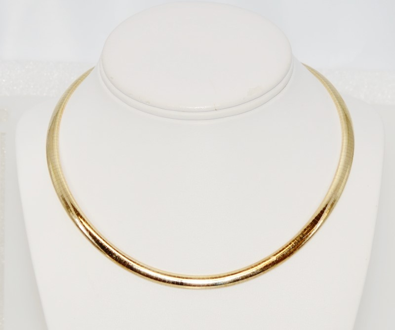 "17"" 14K Yellow Gold Polished 6mm Italian Omega Chain Necklace 38g"
