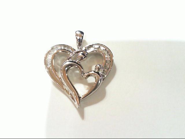 Silver-Diamond Pendant 18 Diamonds .145 Carat T.W. 925 Silver 2.4g