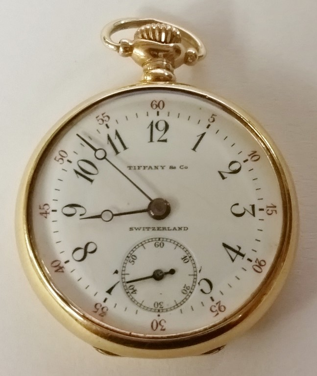 Antique Tiffany & Co. 18K Yellow Gold Ladies Open Face Pocket Watch by Longines