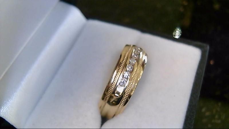 gents 14k yellow gold round diamond wed band