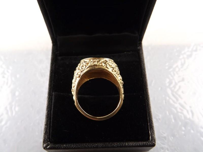 10k YG Signet Nugget Style Ring sz. 7.5 10.3g