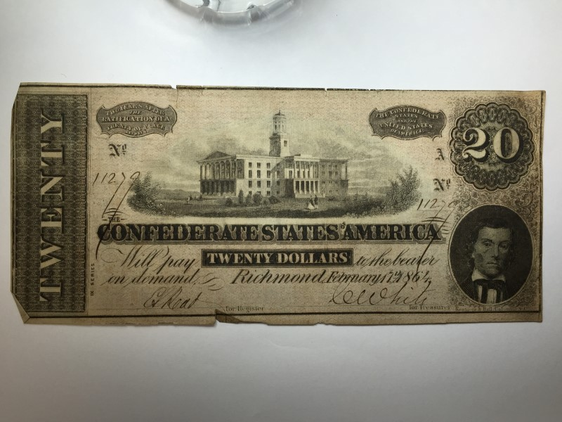 1864 CSA CONFEDERATE STATES OF AMERICA TWENTY 20 DOLLAR NOTE ~ RICHMOND