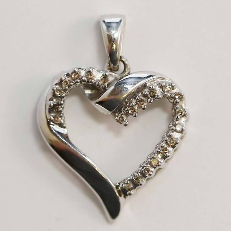 10K White Gold Twisted Heart Pendant with Channel Set Diamonds