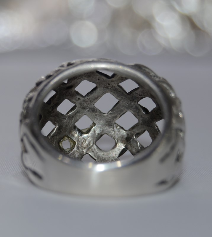 Sterling Silver Mesh Design Basket Weave Dome Ring size 4.5
