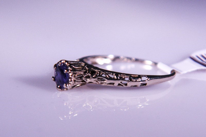 Synthetic Tanzanite Lady's Stone Ring 14K White Gold 1.5g