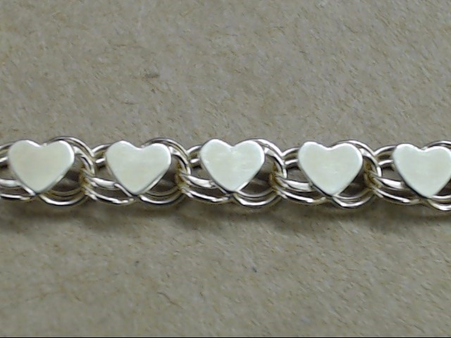 HEART LINK BRACELET REAL 10K YELLOW GOLD VALENTINE LOVE PROMISE 7.5""