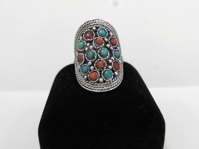 Synthetic Turquoise Lady's Silver & Stone Ring 925 Silver 5.8dwt
