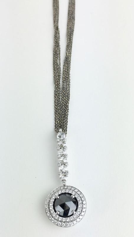 Blk Diamond Italian Made w 99 Diamonds 4.05 Carat T.W. 18K Yellow Gold 13.97g