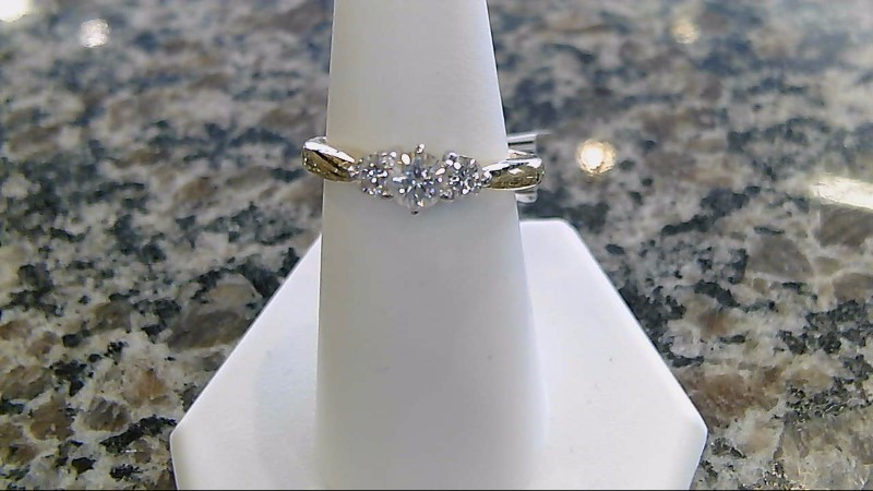 Lady's Diamond Engagement Ring 3 Diamonds .78 Carat T.W. 14K Yellow Gold 3.9g