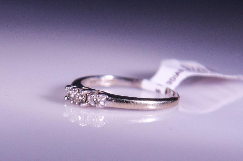 Lady's Gold-Diamond Anniversary Ring 3 Diamonds .16 Carat T.W. 14K White Gold