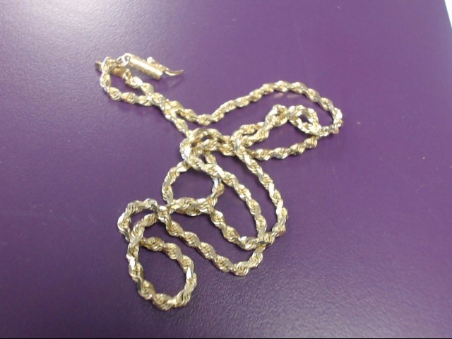 """18"""" Gold Rope Chain 14K Yellow Gold 11.42g"""