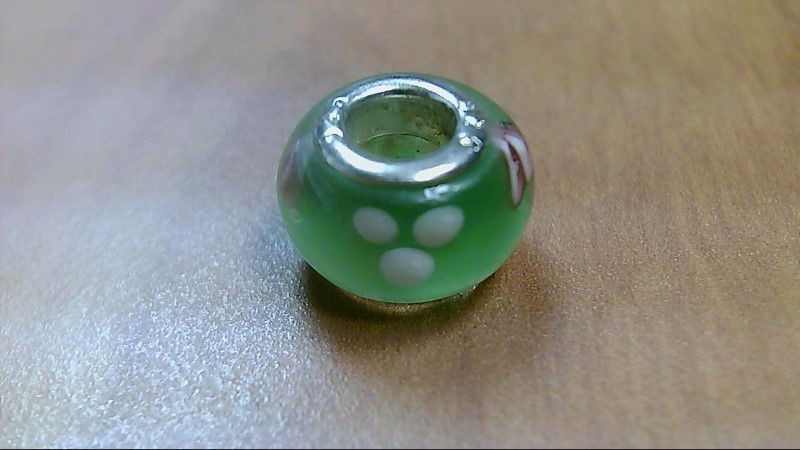 Green White and Pink Glass Bead 925 Silver
