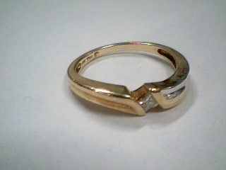 Gent's Diamond Solitaire Ring .15 CT. 10K 2 Tone Gold 2.9g Size:7.3