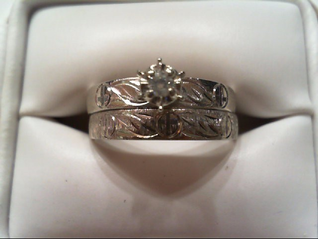 Lady's Diamond Wedding Set .05 CT. 10K White Gold 3.3g